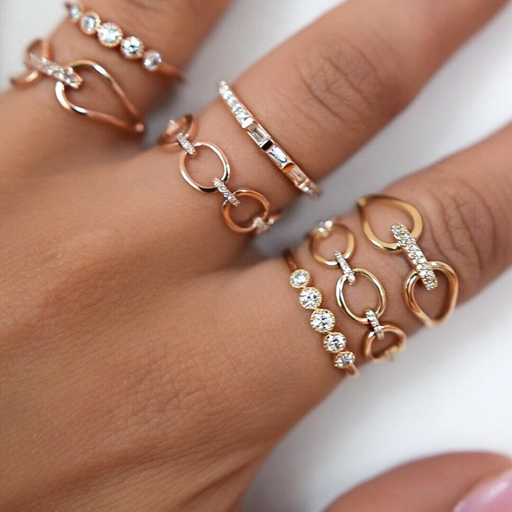Diamond Connected 2 Circle Ring