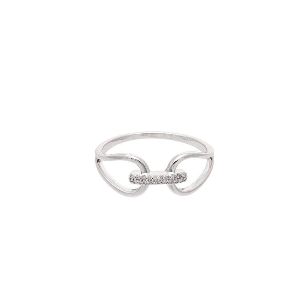 Diamond Connected 2 Circle Ring 14k White Gold