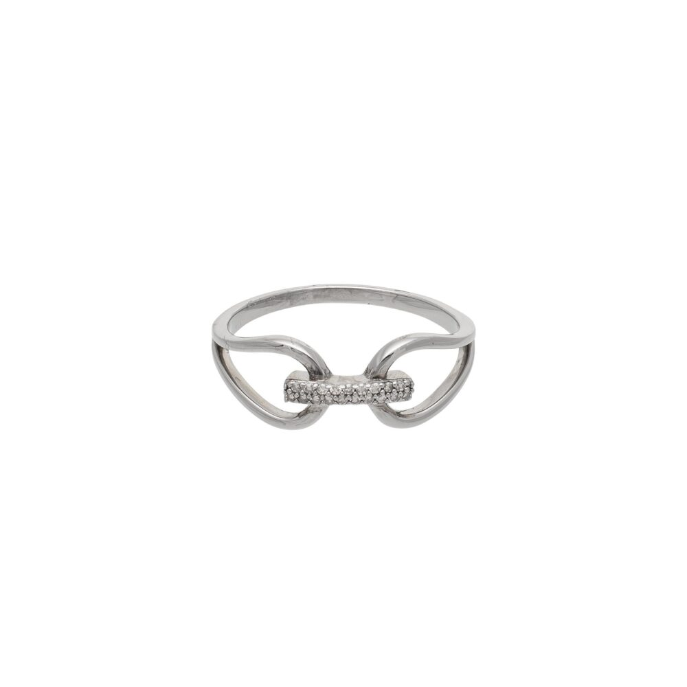 Diamond Connected 2 Circle Ring Rhodium Sterling Silver