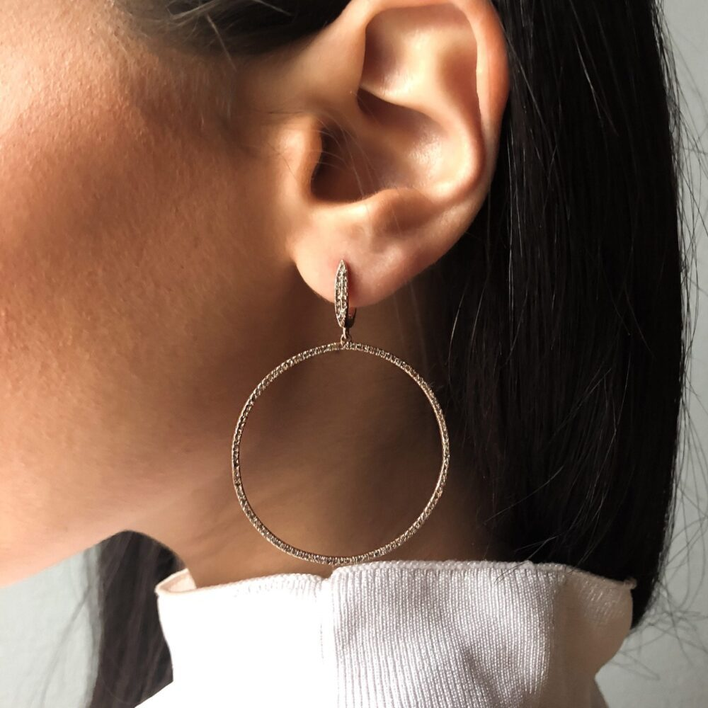 Diamond Dangle Circle Hoop Earrings