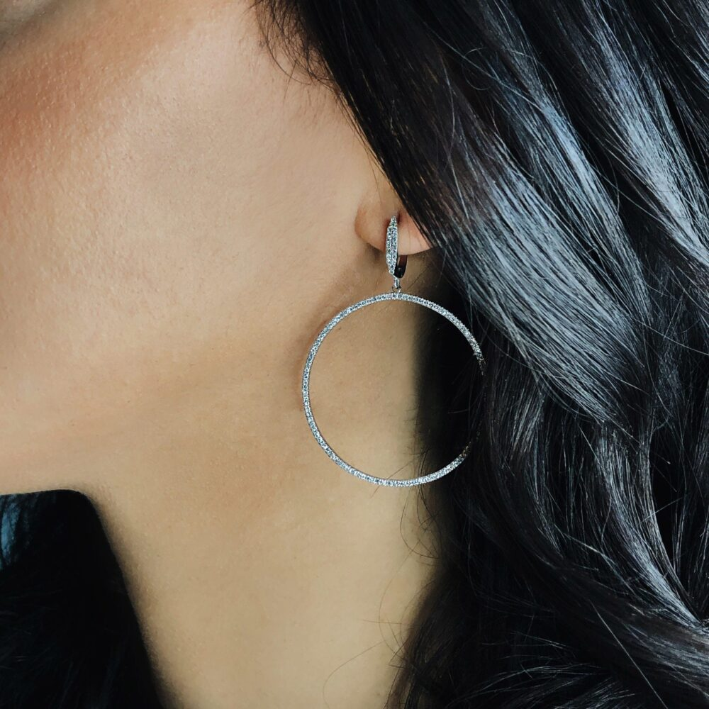 Diamond Dangle Circle Hoop Earrings