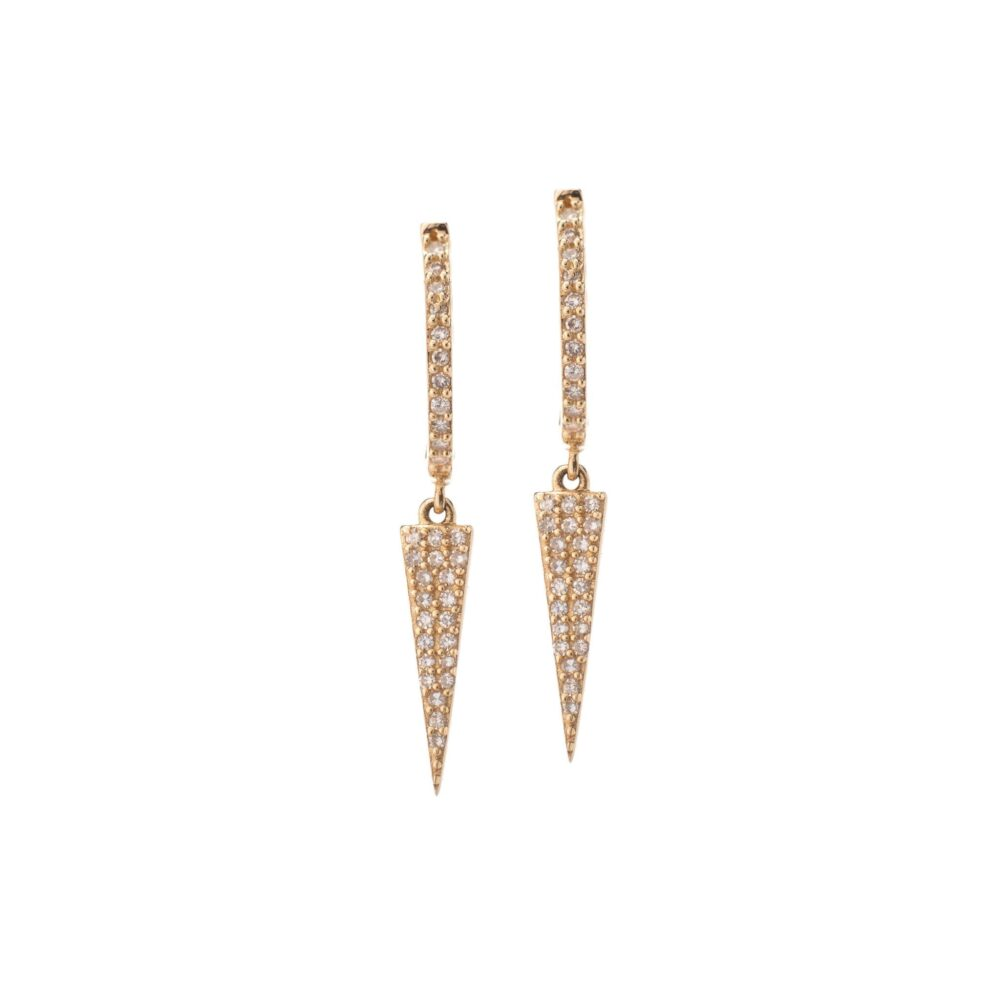 Diamond Dangling Dagger Earrings 14k Yellow Gold