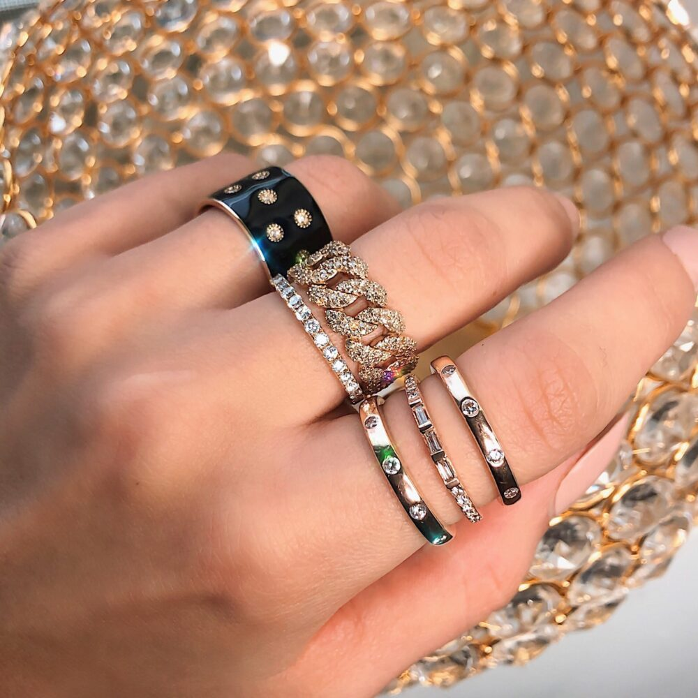 Diamond Flexible Chain Link Ring