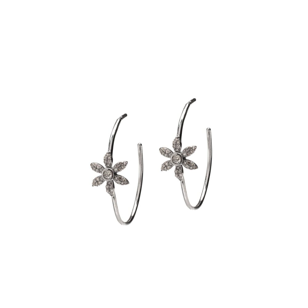 Diamond Flower Hoop Earrings Sterling Silver