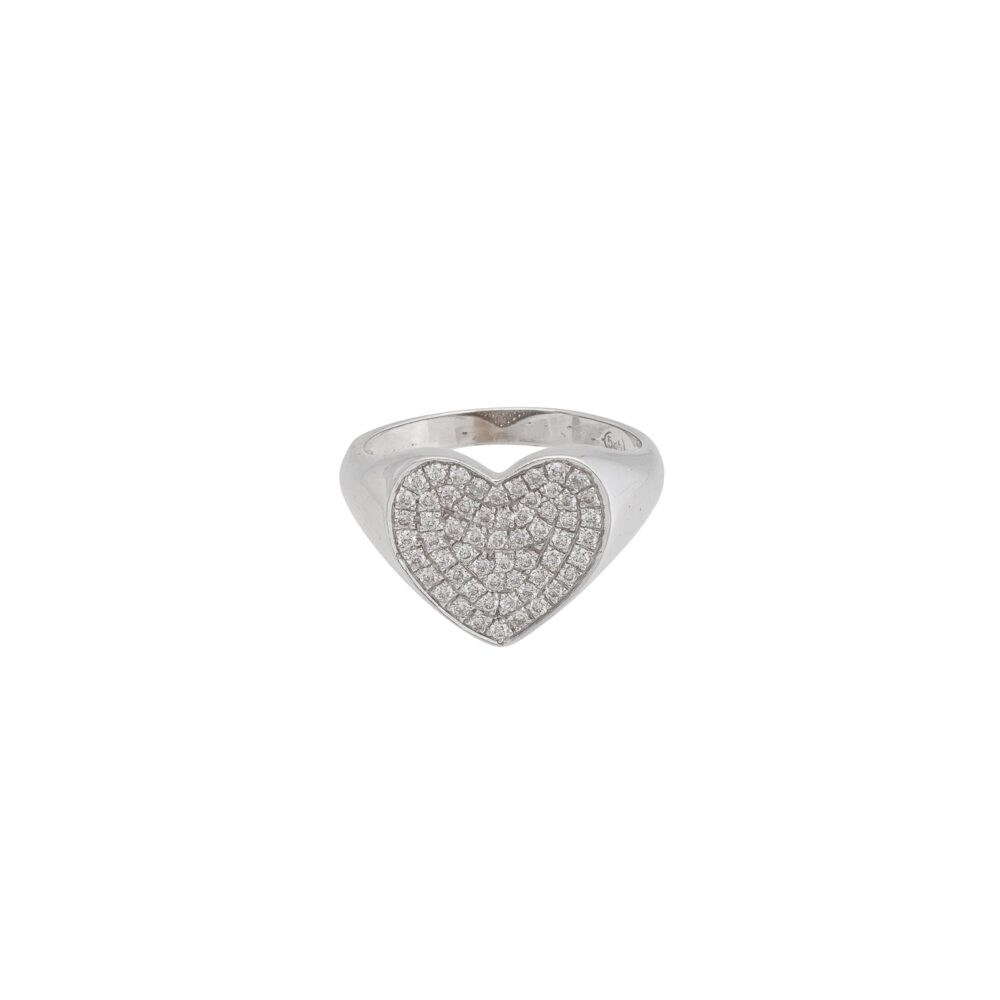 Diamond Heart Pinky Ring White Gold