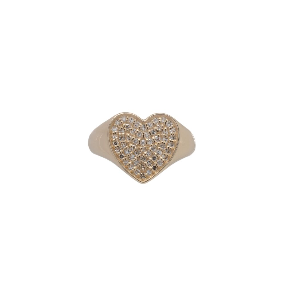 Diamond Heart Signet Pinky Ring Yellow Gold