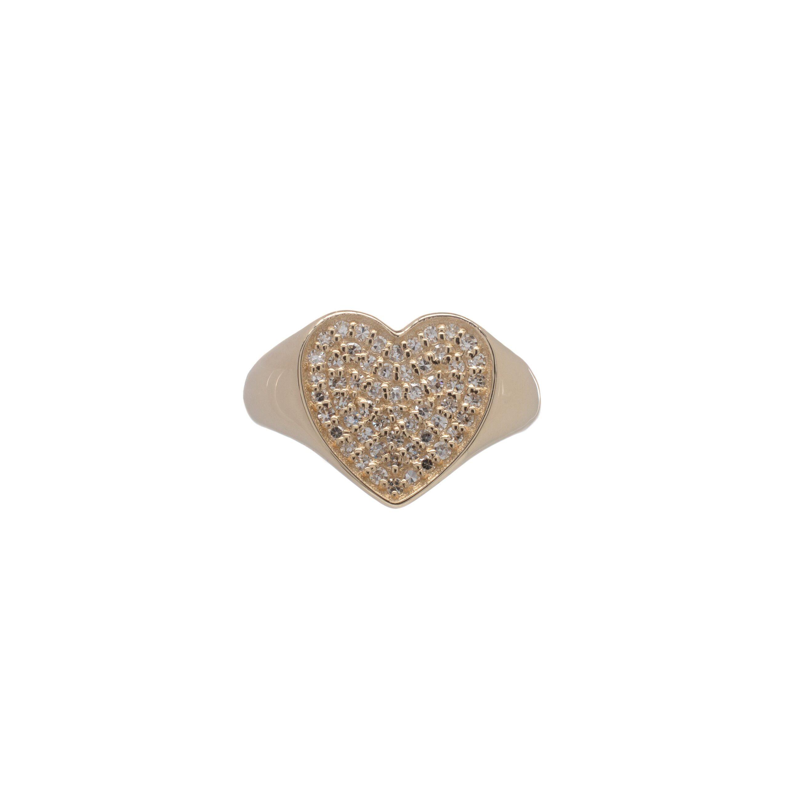 Diamond Heart Signet Pinky Ring Yellow Gold