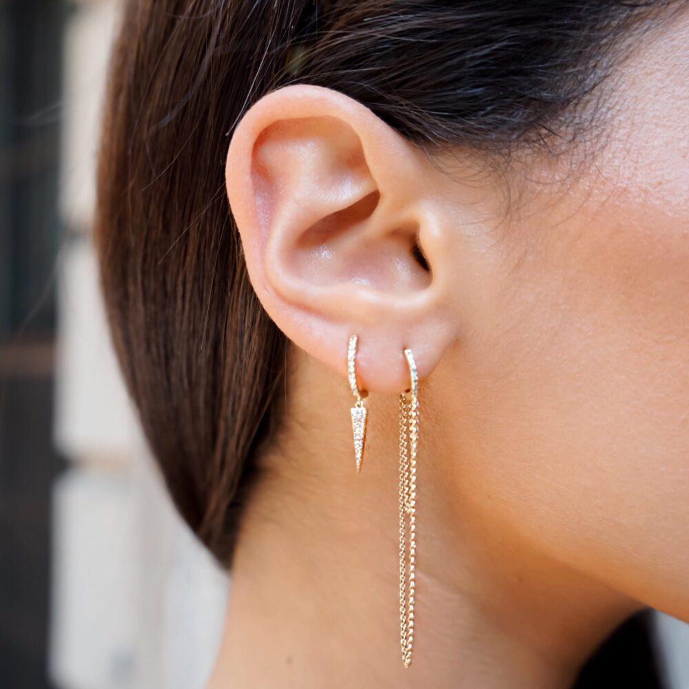 Diamond Huggie Chain Earrings