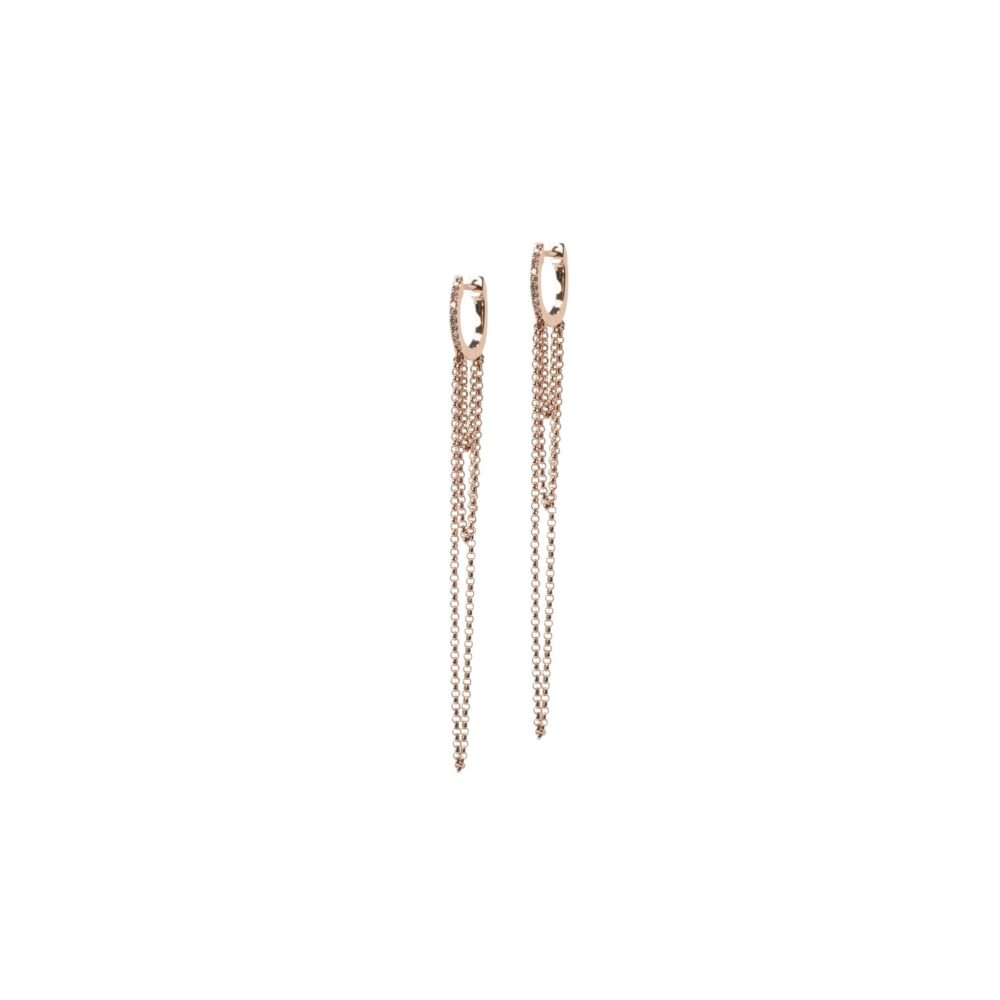 Diamond Huggie Chain Earrings 14k Rose Gold