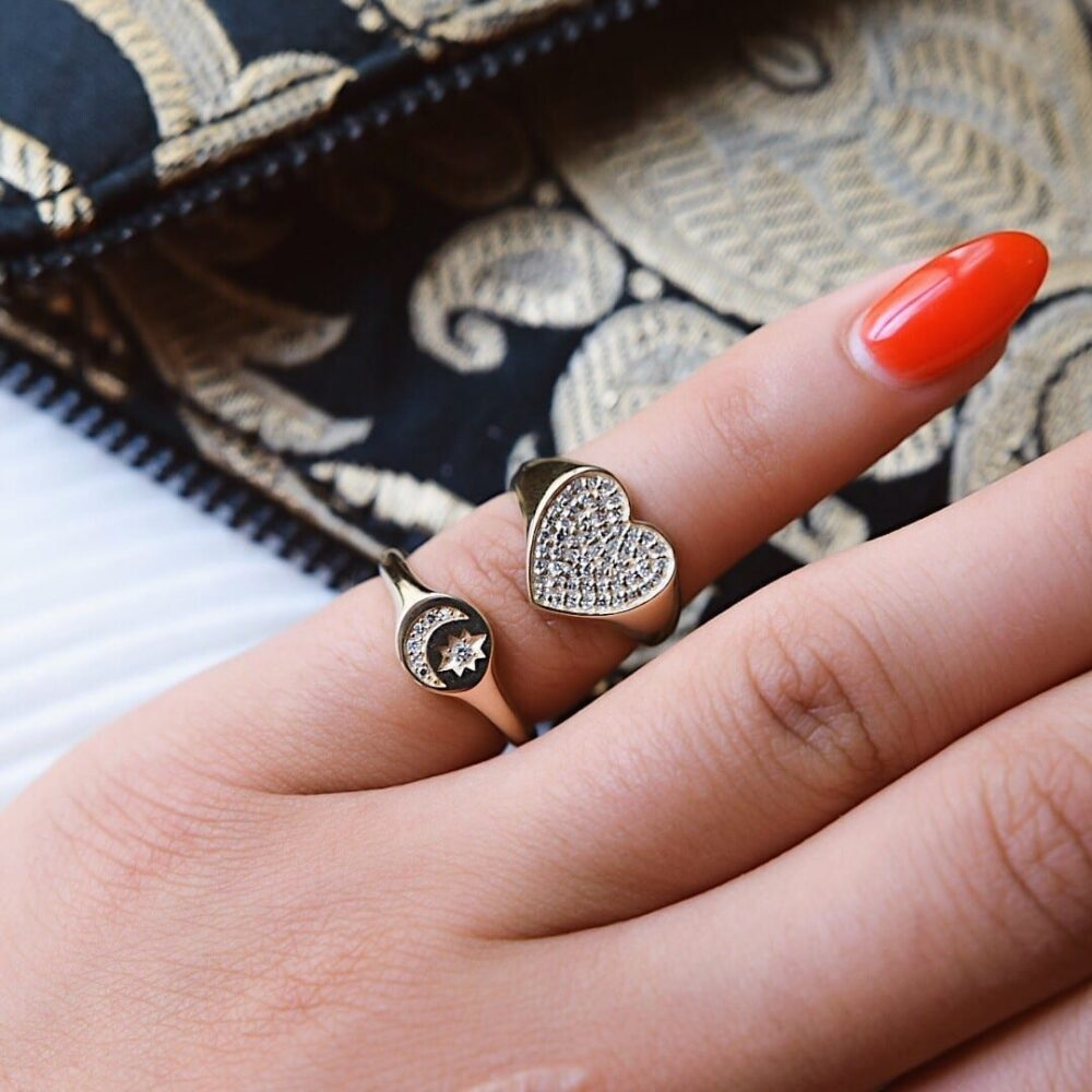 Diamond Heart Signet Pinky Ring