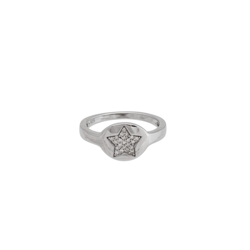 Diamond Star Pinky Ring Sterling Silver