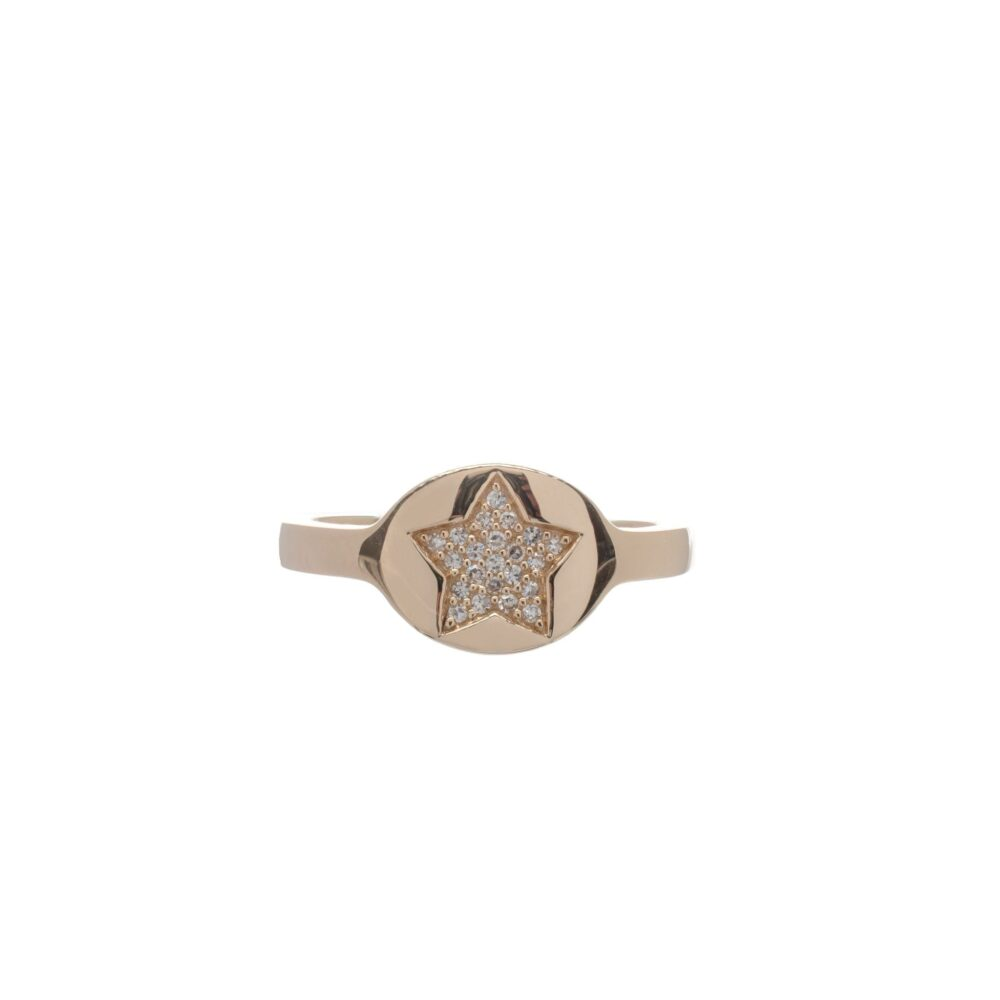 Diamond Star Signet Pinky Ring 14k Yellow Gold