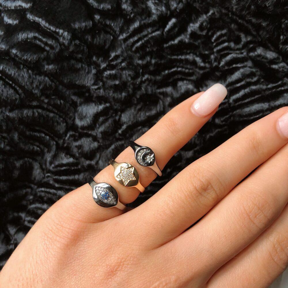 Diamond Star Signet Pinky Ring