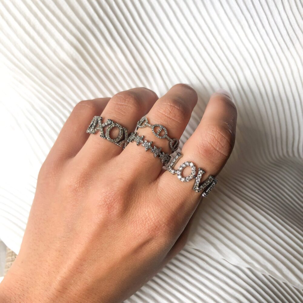 Diamond Tri-Link Stackable Ring
