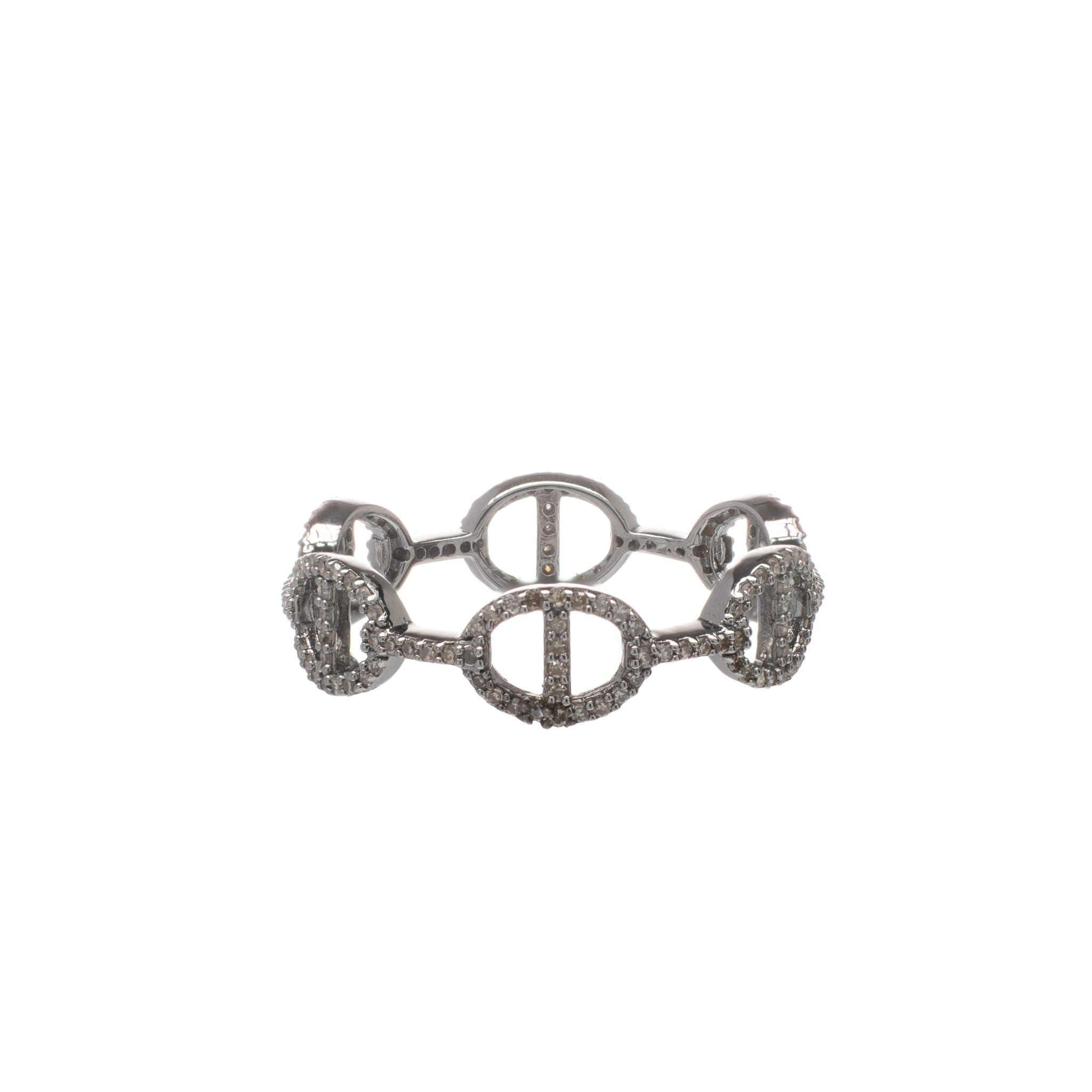 Diamond Tri-Link Stackable Ring Sterling Silver