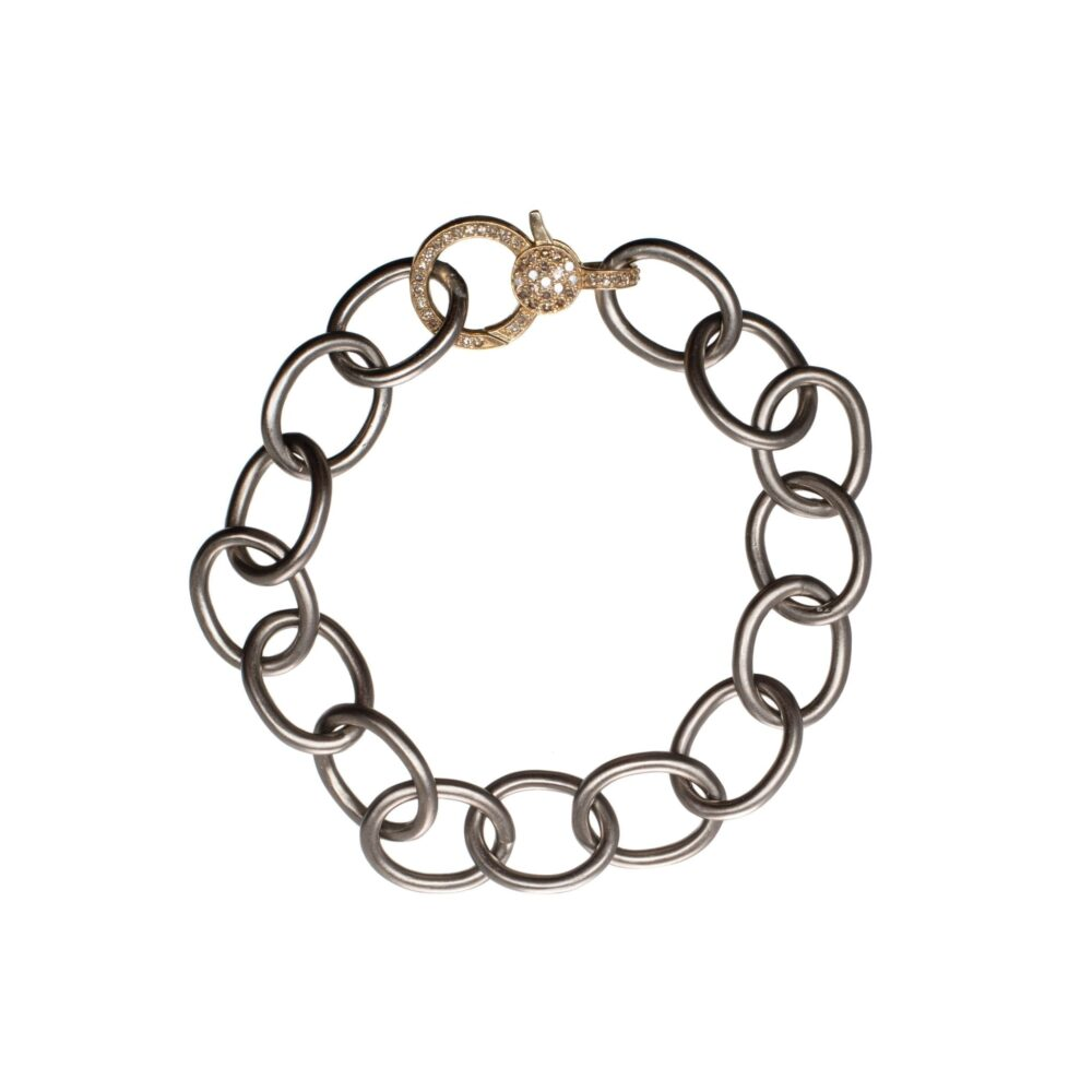 Large Chain Bracelet with Diamond Clasp Sterling Silver