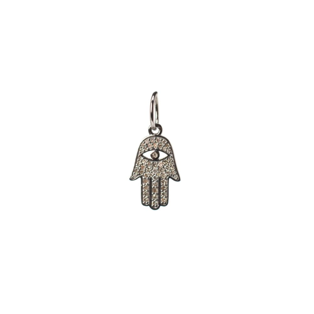Mini Diamond Protective Hamsa Charm Sterling Silver