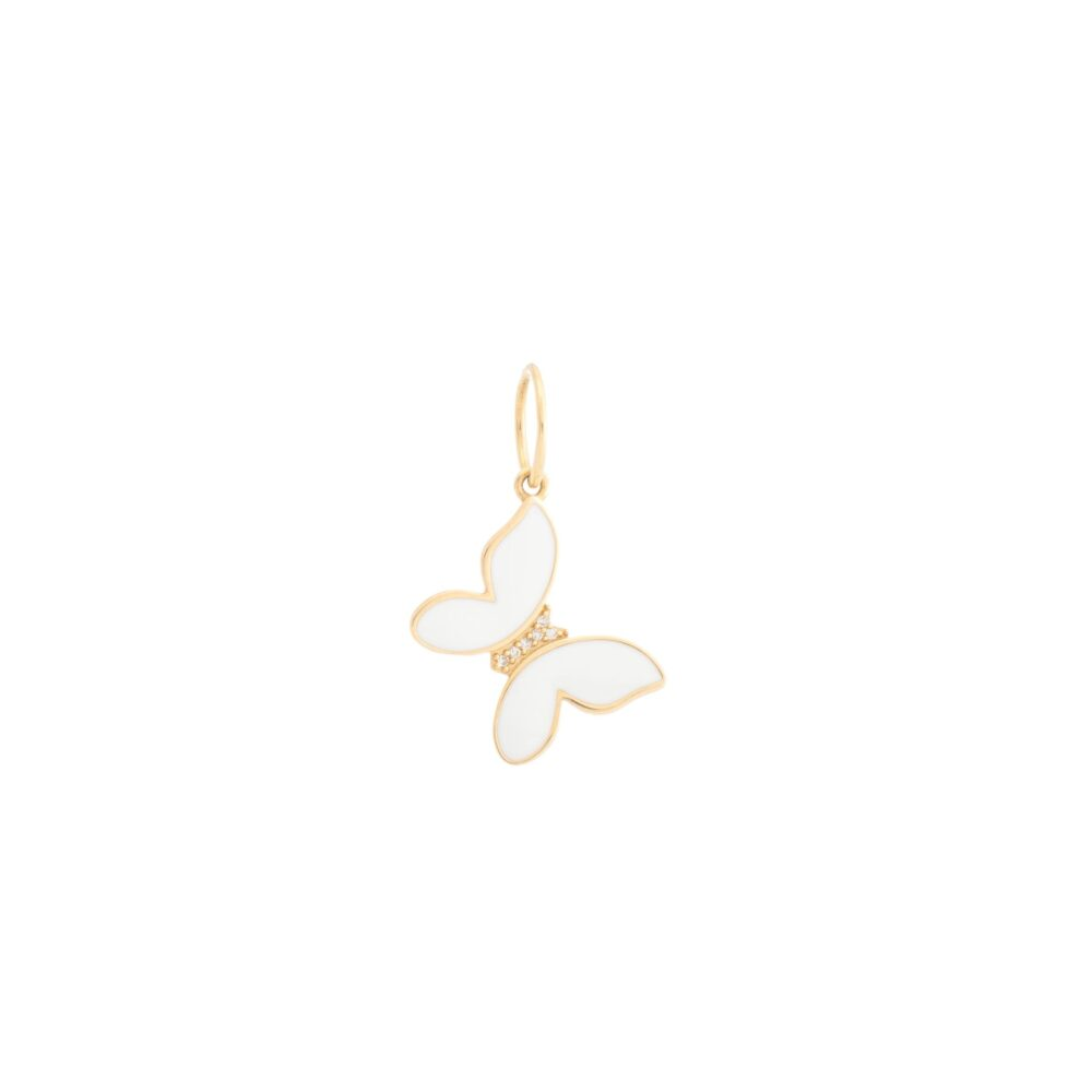 Mini Diamond + White Enamel Butterfly Charm Yellow Gold
