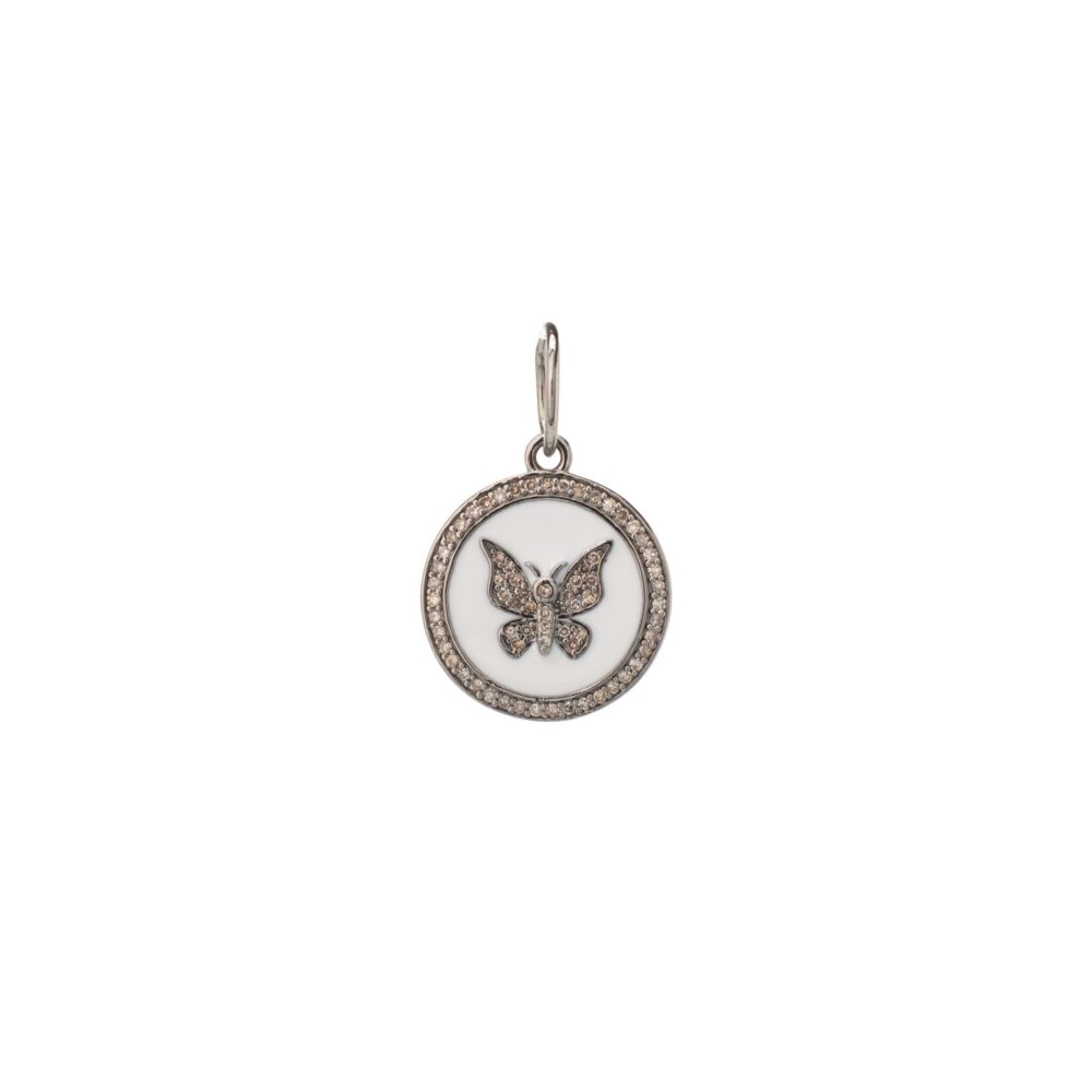 Mini Diamond + White Enamel Butterfly Disc Charm