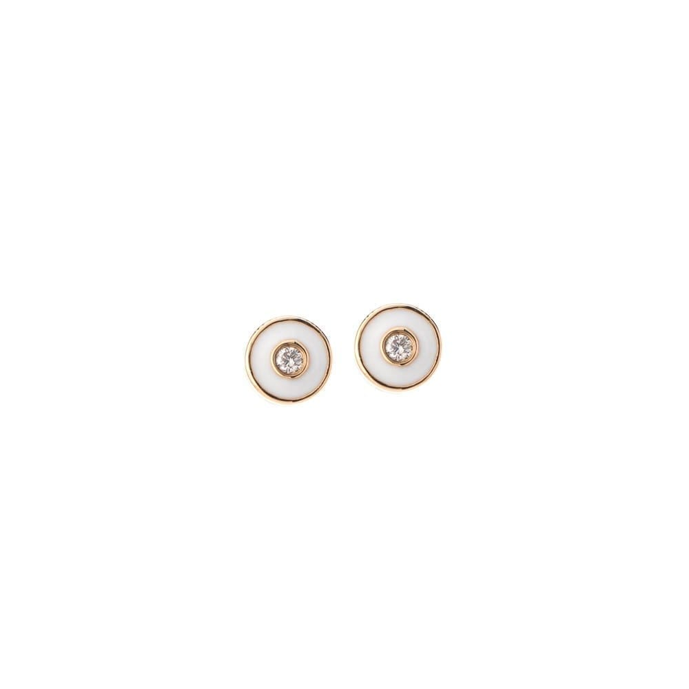 Tiny Diamond White Enamel Earrings