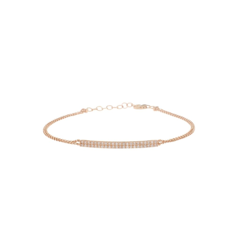 Diamond Bar Double Chain Bracelet 14k Yellow Gold