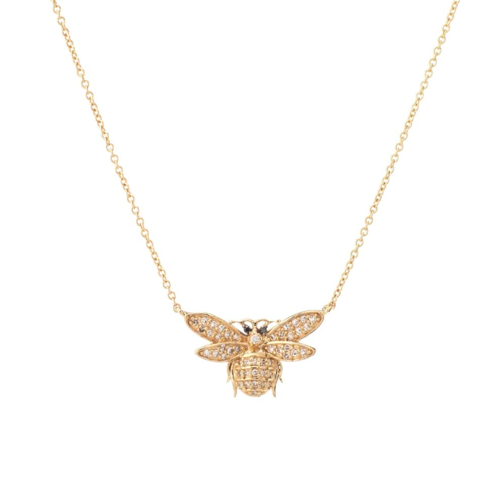 Diamond Bee Necklace 14k Yellow Gold