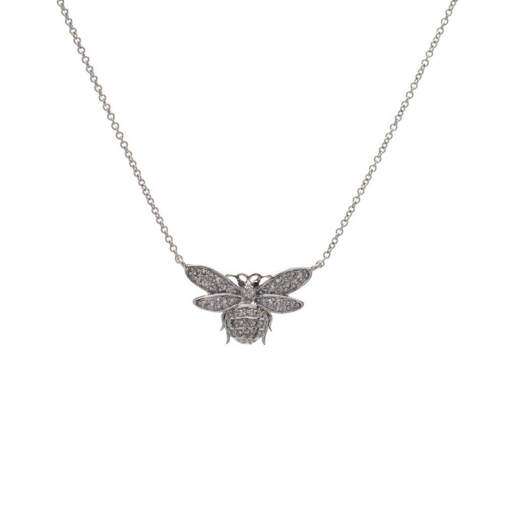 Diamond Bee Necklace Sterling Silver