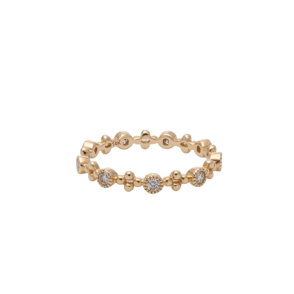 Diamond Bezel + Beaded Stacking Ring Yellow Gold