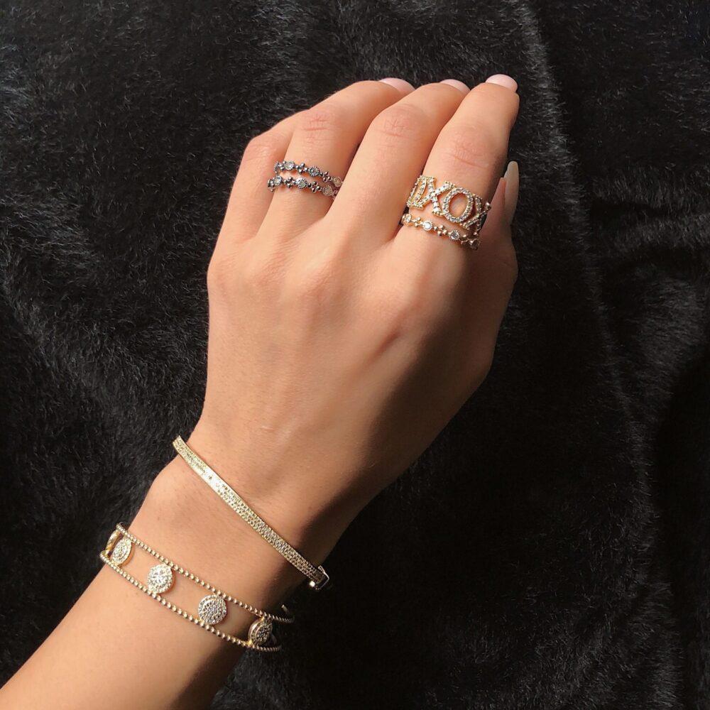 Diamond Bezel + Beaded Stacking Ring