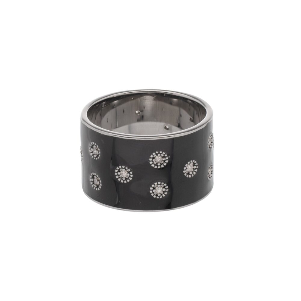 Diamond Black Enamel Eternity Band Sterling Silver