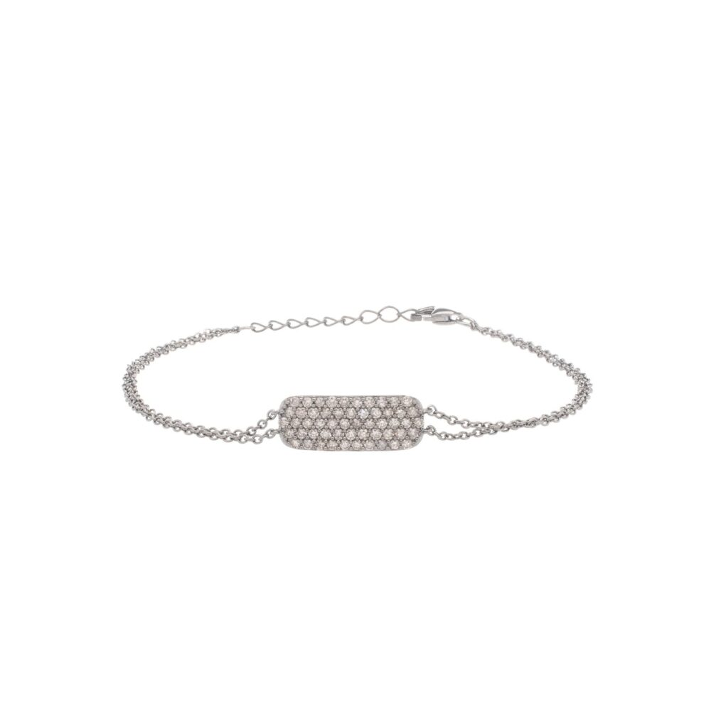 Diamond Delicate ID Double Chain Bracelet Sterling Silver