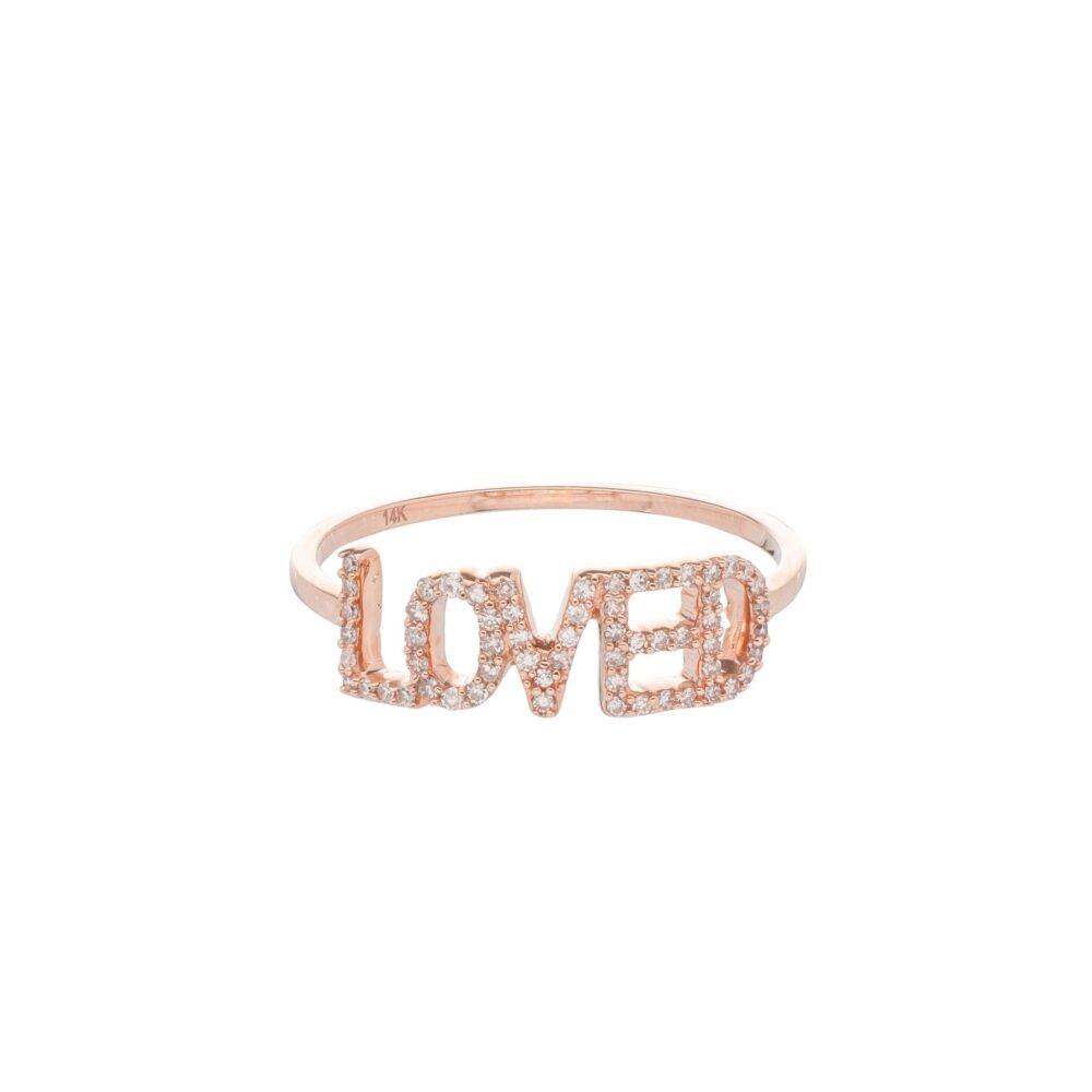 Diamond LOVED Ring 14k Rose Gold