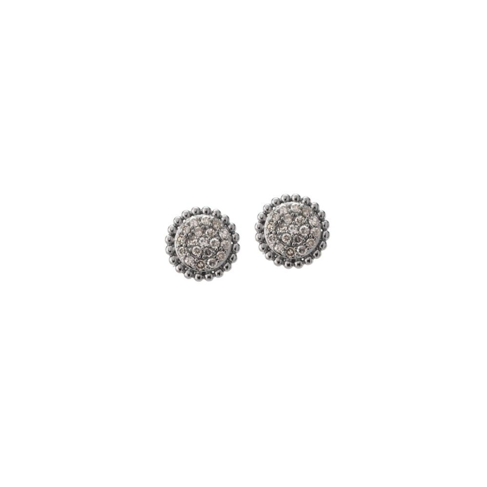 Diamond Pave Beaded Earrings Sterling Silver