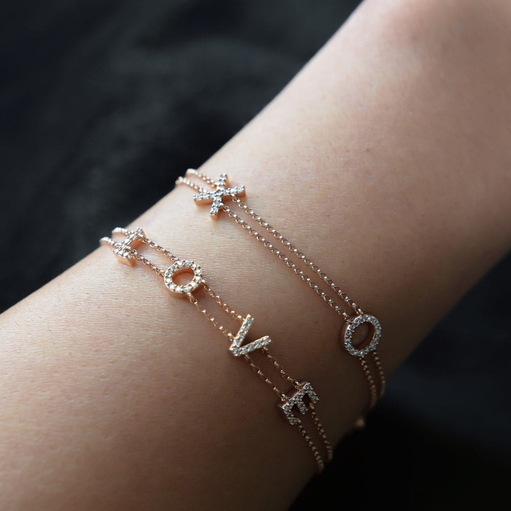 L-O-V-E Double Chain Bracelet