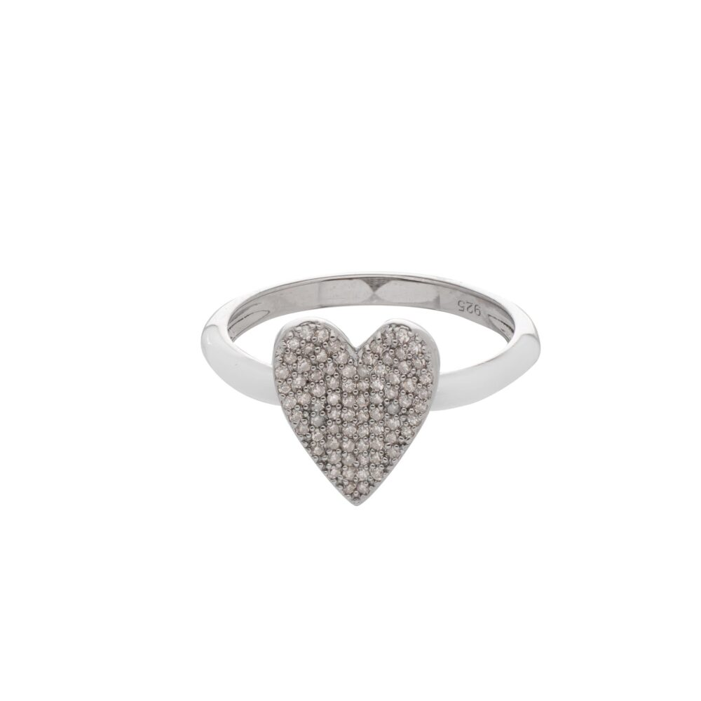 Pave Diamond Heart Ring with White Enamel Band Sterling Silver