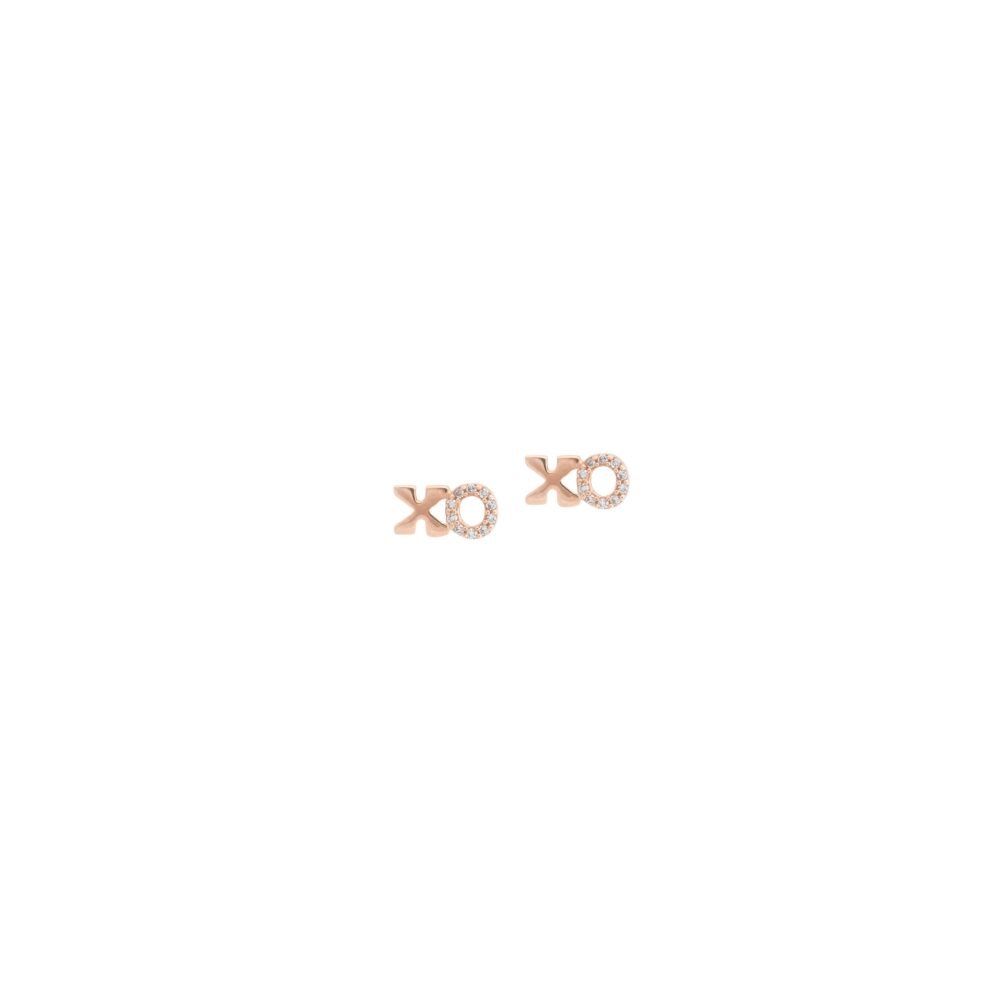 Petite XO Diamond Earrings Rose Gold