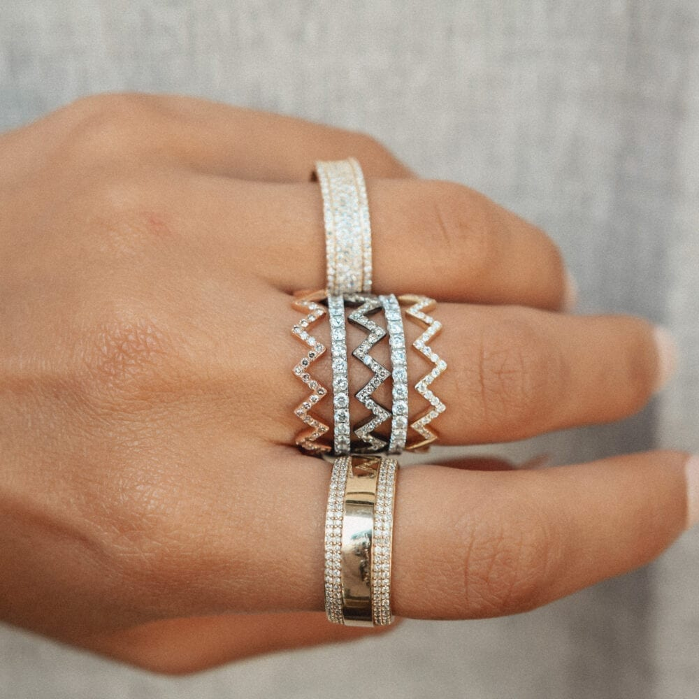 Wide Eternity Band with Rows of Diamonds