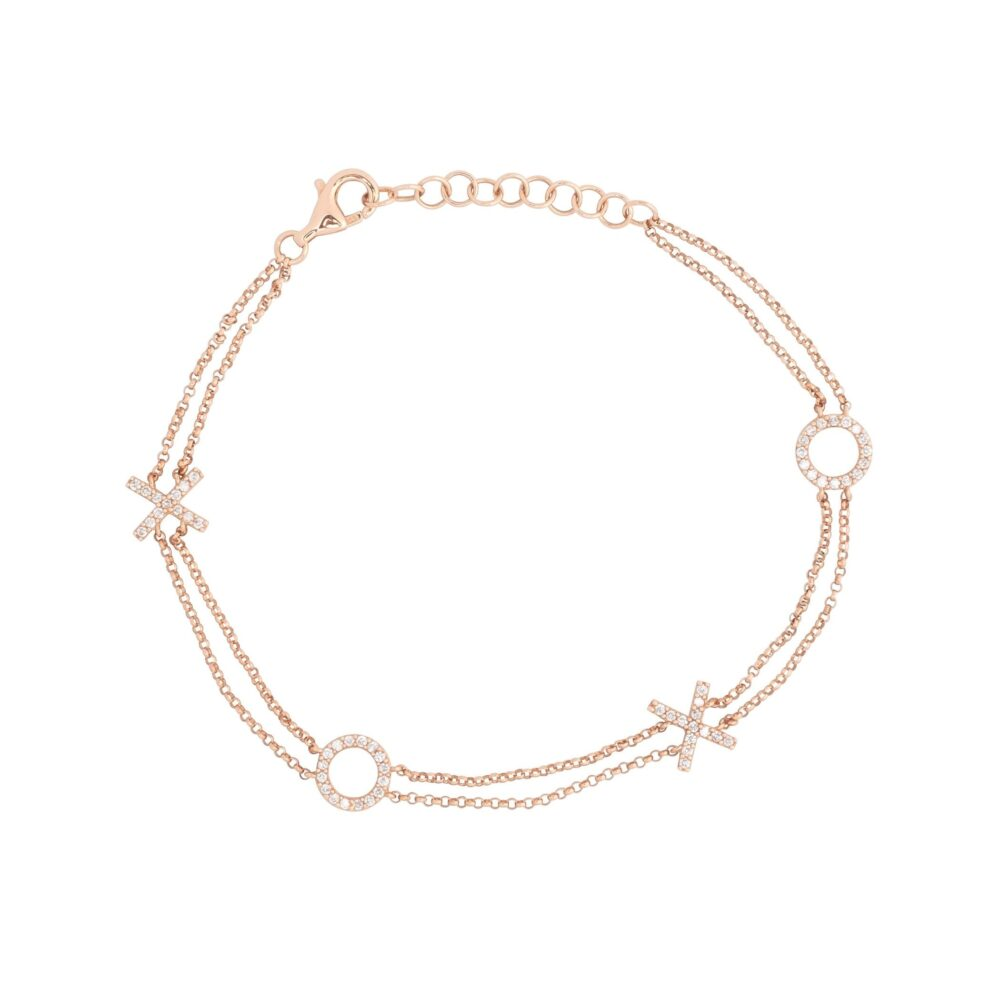 XOXO Double Chain Bracelet Rose Gold
