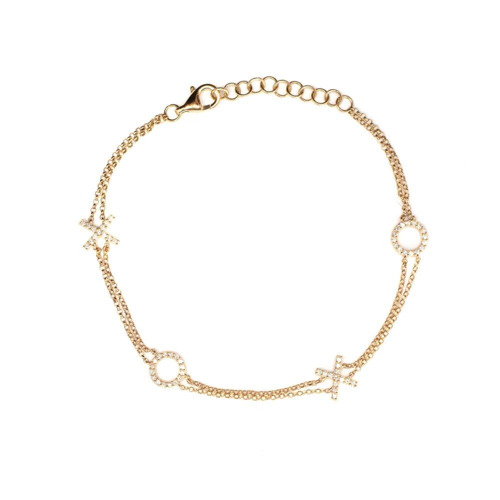 XOXO Double Chain Bracelet Yellow Gold