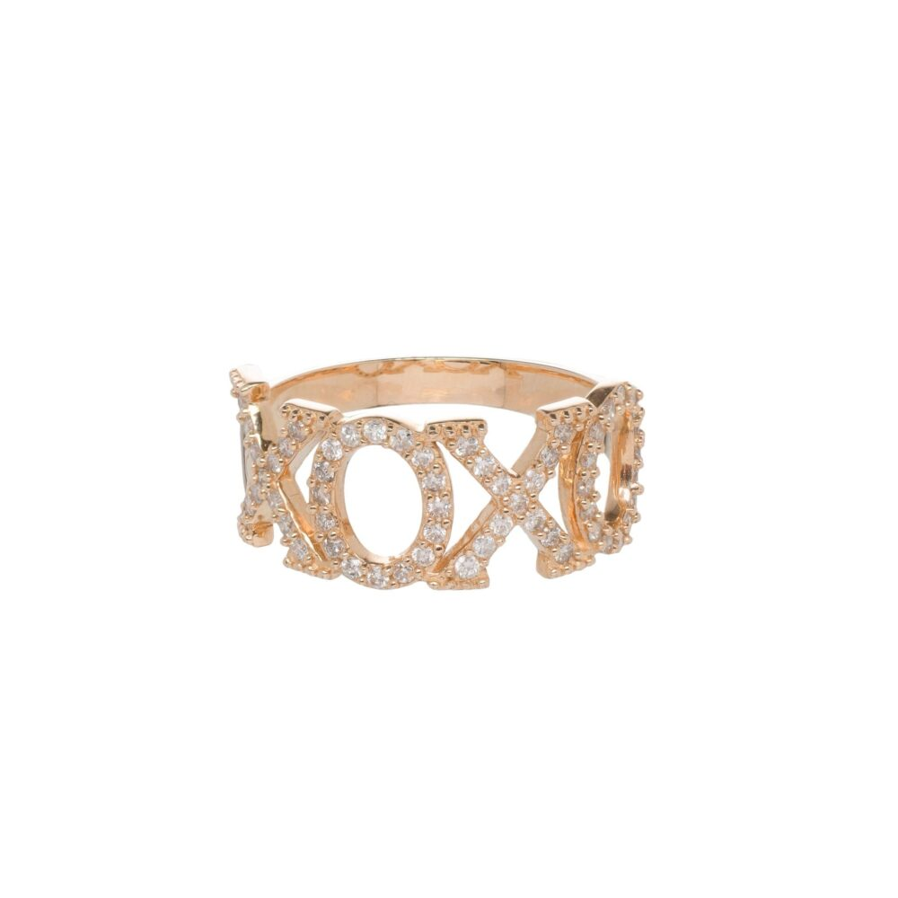 XOXO Pave Diamond Statement Band 14k Yellow Gold