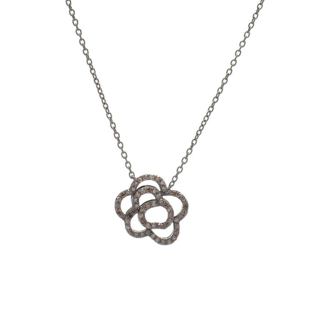 Diamond Camellia Flower Necklace Sterling Silver