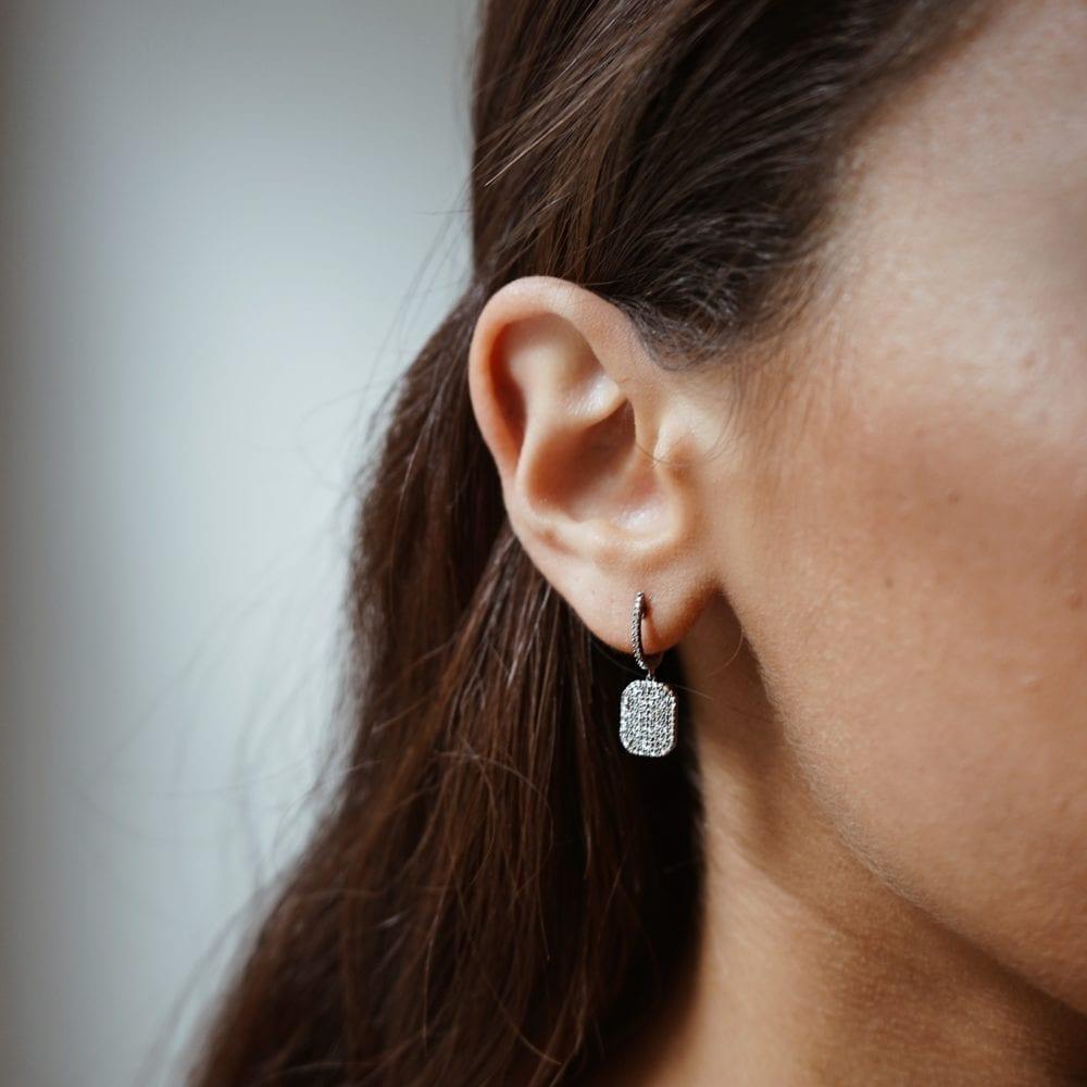 Diamond Dangling Octagon Drop Earrings