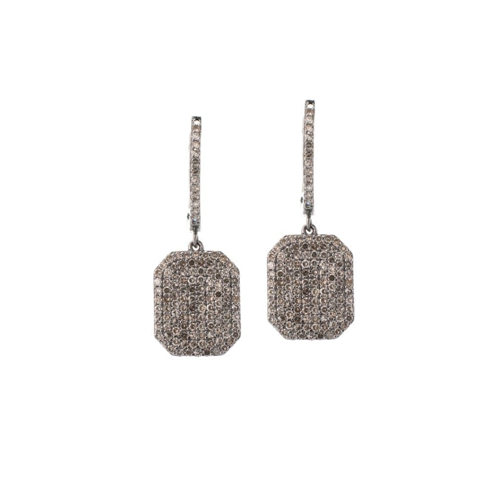 Diamond Dangling Octagon Drop Earrings Sterling Silver