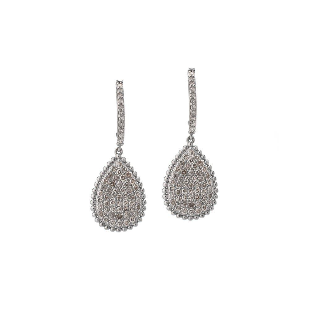Diamond Dangling Pear Drop Earrings 14k White Gold