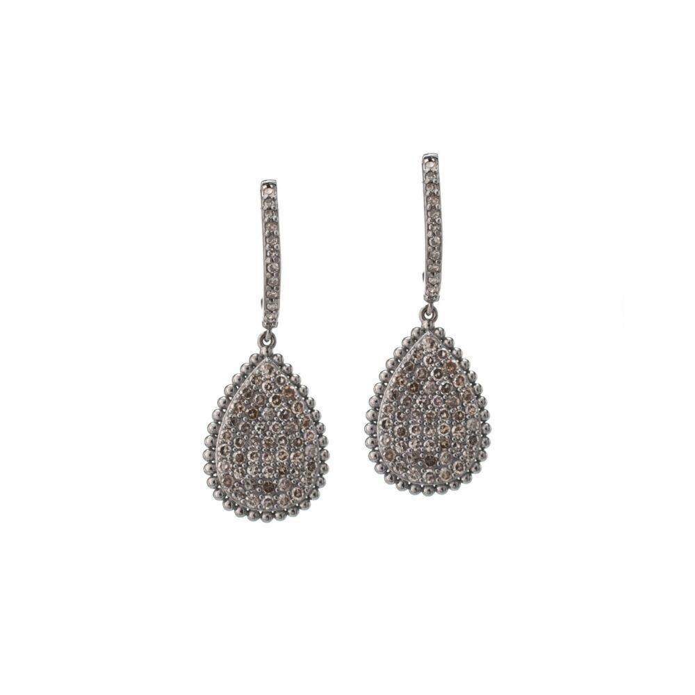 Diamond Dangling Pear Drop Earrings Sterling Silver