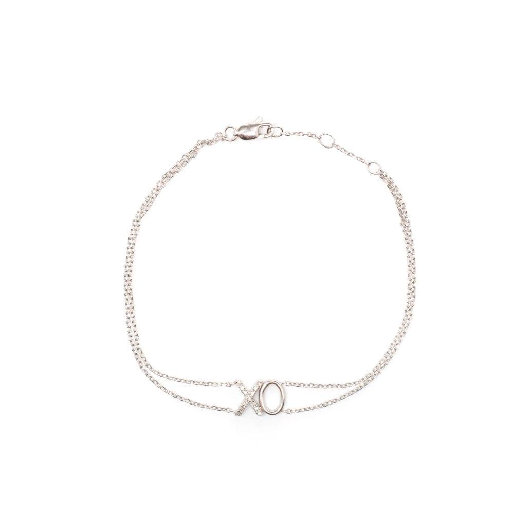 Diamond XO Chain Bracelet 14k White Gold