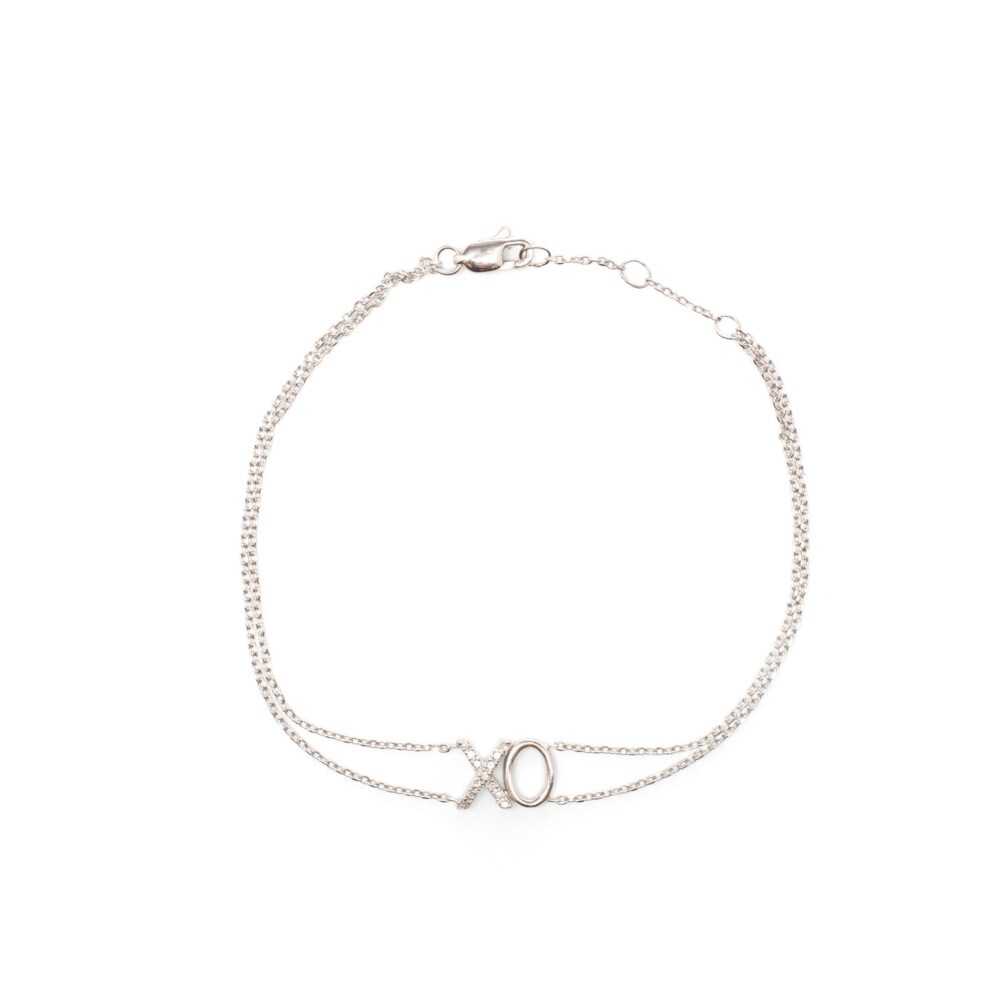 Diamond XO Chain Bracelet 14k White Gold