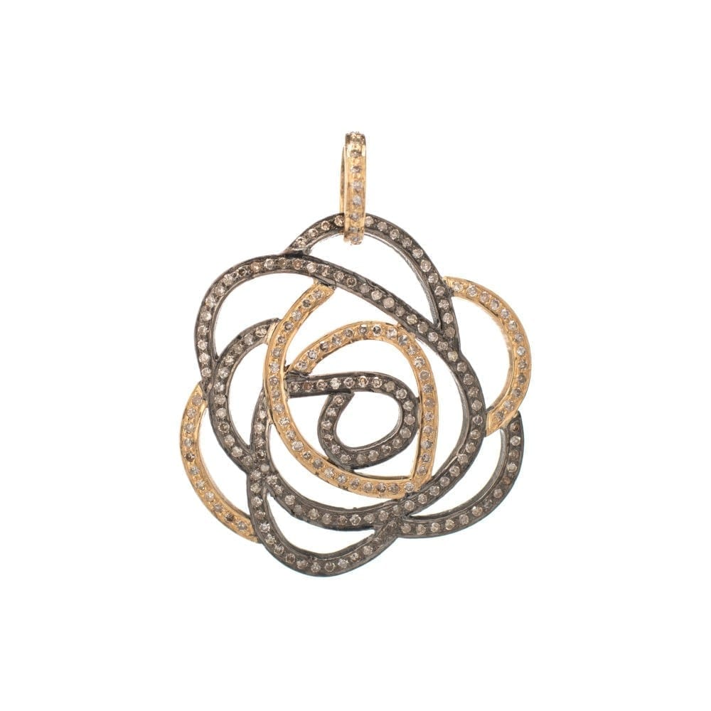 Large Gold + Silver Diamond Rose Pendant
