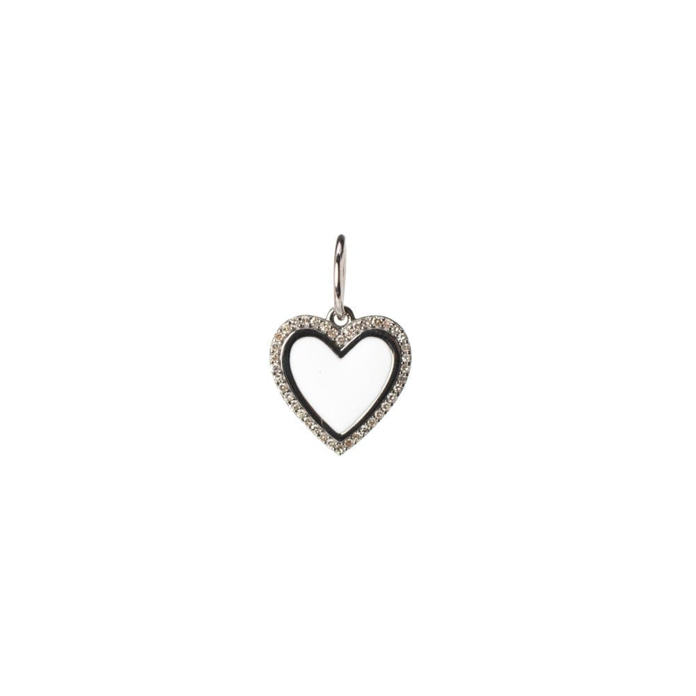 Mini Diamond + White Enamel Heart Charm