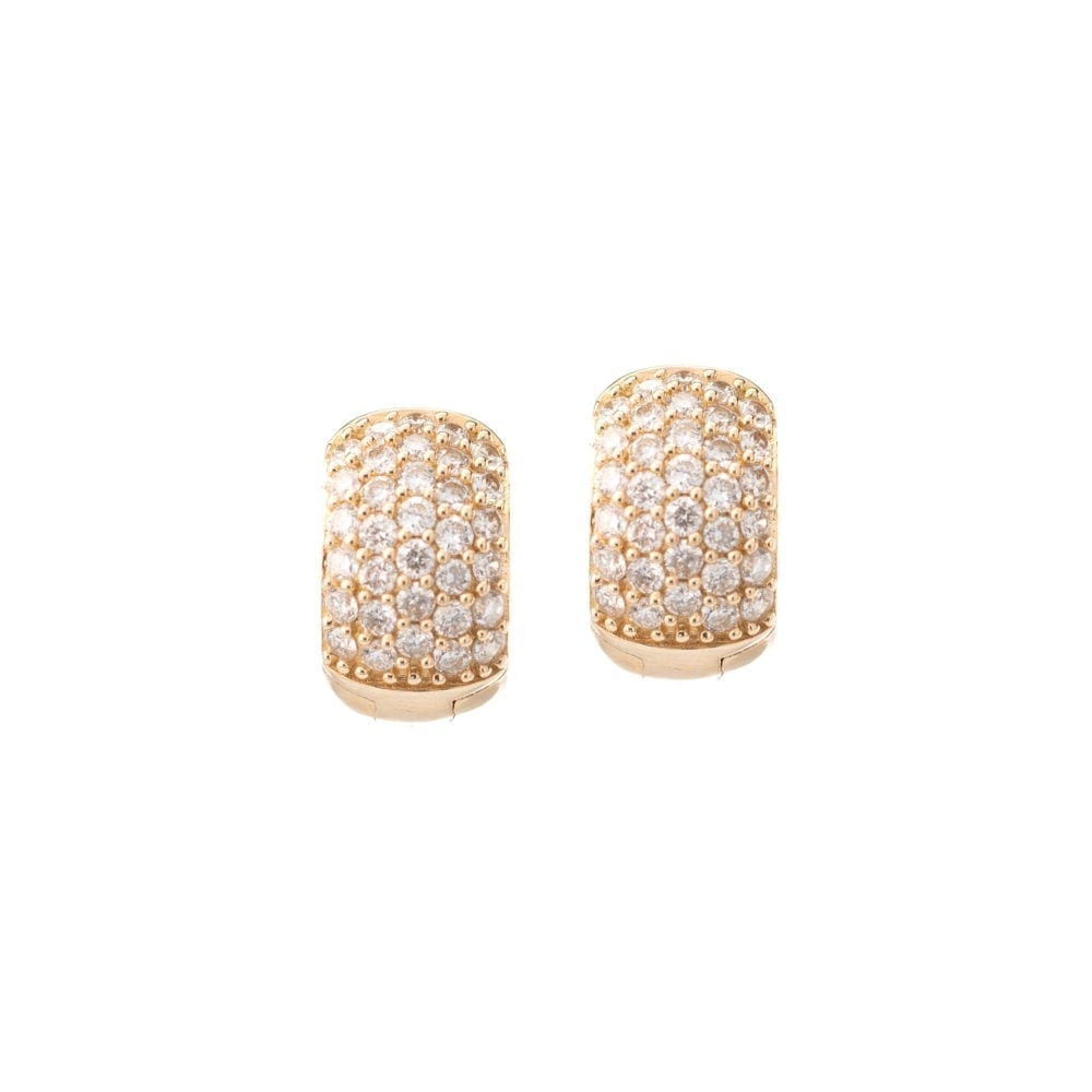 Pave Diamond Chubby Huggies 14k Yellow Gold